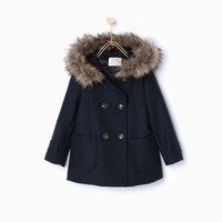 BUTTONED DUFFLE COAT WITH HOOD