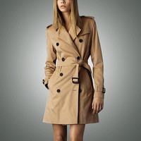 Hot sale 2016 Spring Autumn Brand Casual Trench coat for women Plus Size Long Double breasted Slim Windbreaker Outerwear Coats