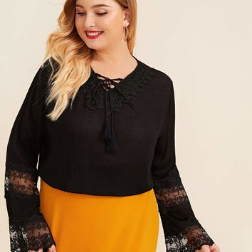 Plus Size Bell Sleeve Lace Contrast Lace-Up Blouse