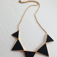 Geometric Triangle Necklace - Funky Statement Necklace - Black Necklace - Green Statement Necklace - Geometric Shape Necklace