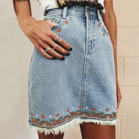Embroidery Floral Denim Skirt