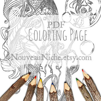 Adult Coloring Pages, Butterfly Koi Zentangle, Instant Download, Plus BONUS Page