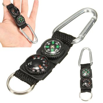High Quality Mini Multifunction 3 in 1 Hiking Travel Compass Thermometer Carabiner Key Ring