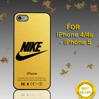 Nike Logo Gold Texture - Photo on Hard Cover - For iPhone Case ( Select An Option )