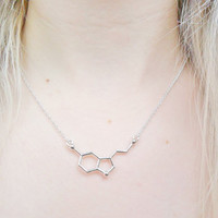 Seratonin Happiness Happy Molecule Biochemistry Chemistry Neurotransmitter Love Pendant Silver Necklace Jewellery Jewelry