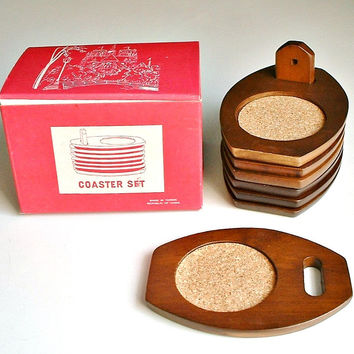 Vintage Hellerware Coasters Walnut Wood and Cork with Display Stand and  Original Box Mid Century