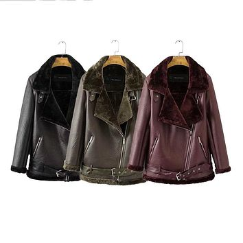 Autumn Winter Coat New European American Women Punk Lapel thickened Padded warm PU leather coats