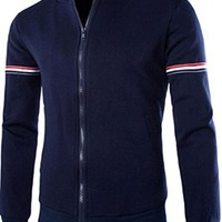 jeansian Men's Casual Stand-Collar Zipper SweatShirt Jacket 9375