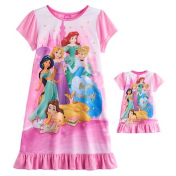 Disney Princess Ariel, Rapunzel, Cinderella, Jasmine & Belle Girls 4-8 Nightgown & Doll Gown Set | null
