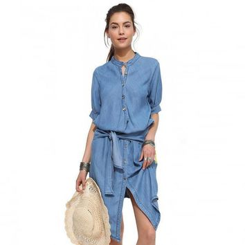 Dress Single Breasted Stand Butterfly Sling Slim Cowboy Dress 1/2 Sleeve Blue Denim Bodycon