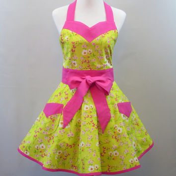 Womens Floral Retro Apron, Green, Chartreuse, Hot Pink, Spring Apron, Full Retro Skirt, Bridal Shower, Birthday, Mothers Day Gift for Her