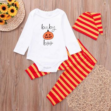 Arloneet halloween costumes for children Newborn Baby Romper Tops Pumpkin Prin Striped Pants Cap Halloween Clothes Sets JM l0815