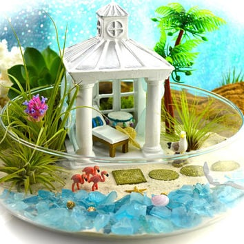 "Resort Cabana Beach Terrarium Kit ~ 10"" Bowl Air Plant Terrarium Kit ~ Coastal Living Beach Decor ~ Choice of Flamingos or Sea Turtles"