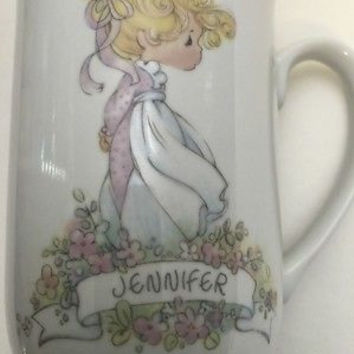 Precious Moments Cup Enesco Jennifer Personalized Name Porcelain Coffee Mug 1990