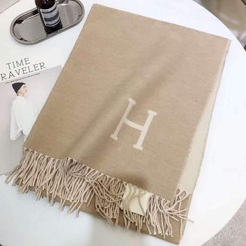 Hermes Trending Women Men Stylish Simple H Letter Cashmere Cape Scarf Scarves Shawl Accessories Khaki