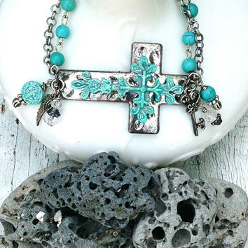 Turquoise Patina Cross Bracelet, Sideways CroSs Cuff, Horizontal CRoSS, Religious Jewelry, SIDE CROSS BRACELET, TurQuoise BraCElet