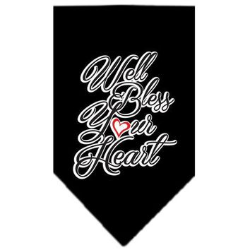 "Well Bless Your Heart Screen Print Bandana Black Large 22""x22""x31"" triangle"