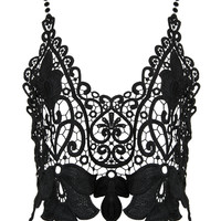 Black Plunge Neck Open Back Cami Lace Crop Top