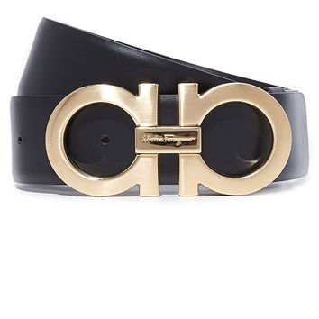 Salvatore Ferragamo Adjustable/Reversible Belt - 9220 Black/Hickory Men's Belts