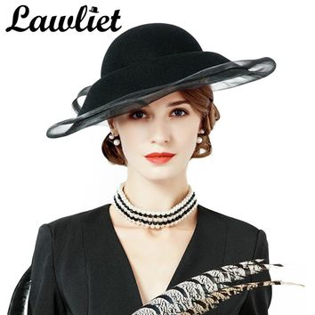 Lawlie Black Women Hat Crin Veil Wide Brim Wool Felt Bowler Fedora Lady Derby Wedding Fascinator Vintage Style Church Floppy Hat