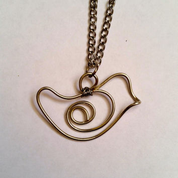 Bird Necklace, Wire Bird Necklace