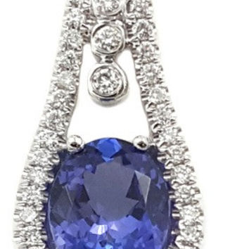 1.86 CT (t.w.) Natural Oval Tanzanite Cut White Diamond Halo On 14K/18k Gold Engagement Necklace Pendant