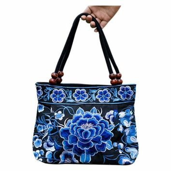 Chinese Women Handbag Embroidery Ethnic Summer Handmade Flowers Ladies Tote Shoulder Bags Cross-body bag