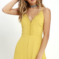 Sun Beam Yellow Embroidered Romper