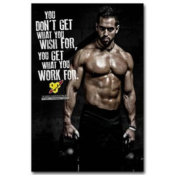 Poster Nordic Bodybuilding Motivational Quote Wall Art Canvas Painting Fitness Exercise Picture for Modern Gym Room Decoration