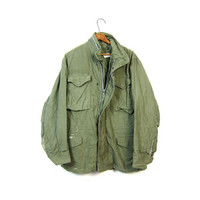 Army Coat Military Jacket 80s Commando Cargo DISTRESSED Grunge Oversize Olive Drab Green Jacket 1980s Vintage Camo Anorak Mens SMALL