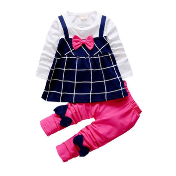 Toddler Kids Baby Girl Outfits Clothes Princess Rose White Plaid T-shirt Bow Tops Dress+Cute Pants 2 Pcs Clothing Set YO