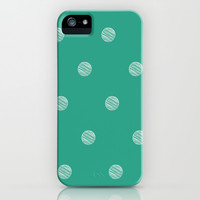 Sea Green Polka Dots iPhone & iPod Case by Electric Avenue