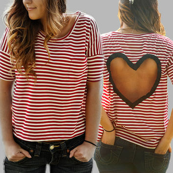 BLACK or GREY  striped Heart Cut out Shirt Upcycled Heart shirt CHOOSE your color - black or light grey