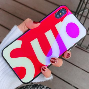 Supreme iPhoneX Glass Phone Case Blu-ray iPhone7/8plus Cover SUP/RED