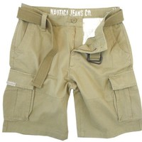 Nautica Mens Belted Cargo Shorts