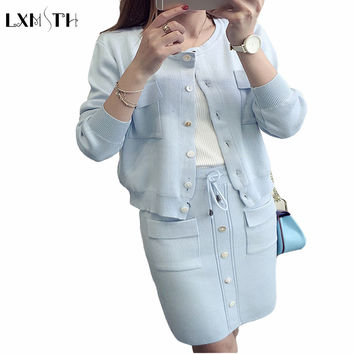 womens skirt suit 2016 Autumn Winter New Cardigan+Skirt 2 Piece Sets business suits Ladies Knit Womens suits blazer with Skirt