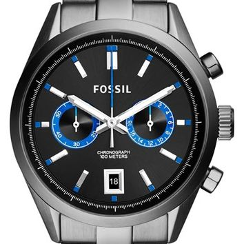 Men's Fossil 'Del Rey' Chronograph Bracelet Watch, 43mm - Smoke