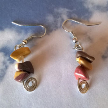 Mookaite Jasper earrings artisan wire wrapped natural stone dangle bead earring raw gemstone crystal jewelry silver or gold handmade