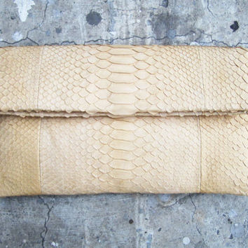 FOLD OVER - Pastel Cream Nude Fold Over Python Snakeskin Leather Clutch
