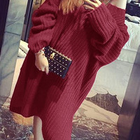 Burgundy Side-Slit Sweater Dress