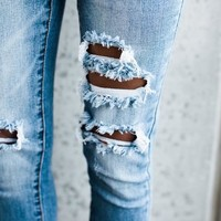 PREORDER - Worldwide Distressed Frayed Skinny