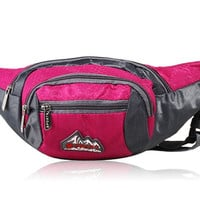 Outdoor Multiple Pocket Waist Fanny Pack (Red)