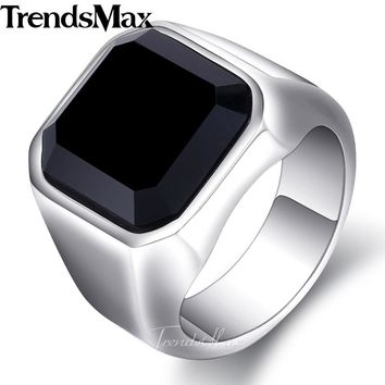 Trendsmax Mens Ring 316L Stainless Steel Gold Silver Engagement Wedding Band Black CZ Jewelry HRM63