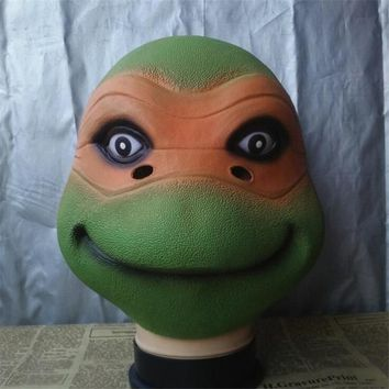 Ninja Turtle TMNT Michelangelo Party Funny Mask Cosplay Costumes Accessories Latex Hoods Halloween Props