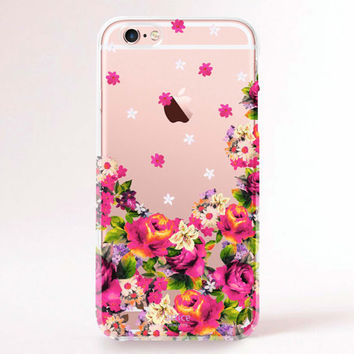 Clear Transparent iPhone 6s case, iPhone 6s plus case, iPhone 6 Case, iPhone 6 Plus Case, iPhone 5S Case, iPhone 5C Case - Pink flowers