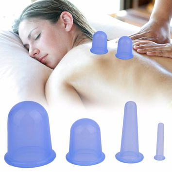 4pcs Home Family Body Massage Helper Medical Silicone Cupping Improve Circulation Health Care Massage Cupping Massager With Bag