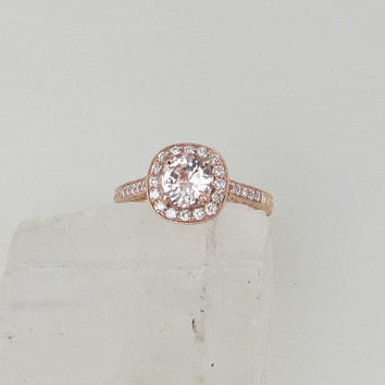 Champagne Peach Sapphire Gemstone Engagement Ring 14k Rose Gold Diamond Halo Vintage Style Weddings Anniversary