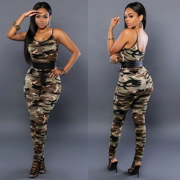 Strap Vest Long Pants Camouflage Flower Print Two Pieces Set