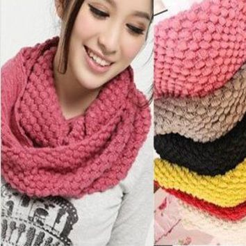 Fashion Women Winter Warm Knitted Neck 2 Circle Wool Cowl Snood Long Scarf Shawl Autum Scarfs Women Knitted Long Ring Scarf