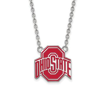 NCAA Sterling Silver Ohio State Large Enamel Pendant Necklace